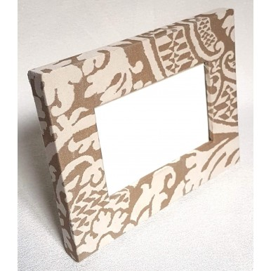 Fortuny Fabric Covered Tabletop Picture Photo Frame Champagne & Silvery Gold Orsini Pattern