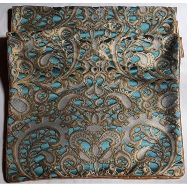 Luxury Table Runner Rubelli Fabric Silk Lampas Blue Peacock & Gold Gianduja Pattern