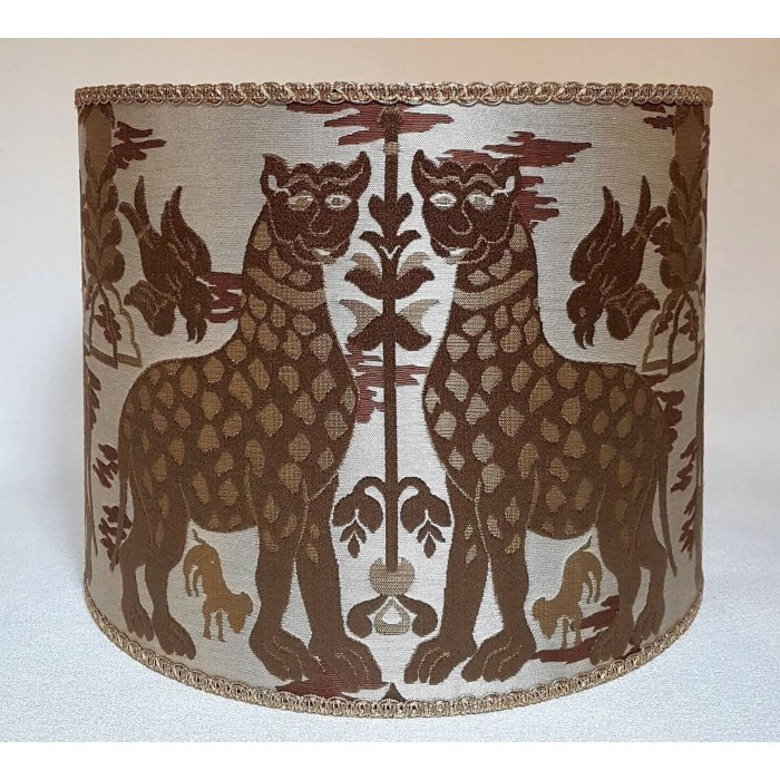 Drum Lamp Shade Brown and Ivory Silk Brocatelle Luigi Bevilacqua Fabric Fiere Pattern
