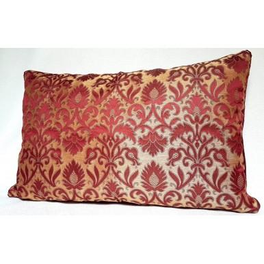 Fodera per Cuscino in Tessuto Broccatello di Seta Luigi Bevilacqua Rinascimento Rosso Antico