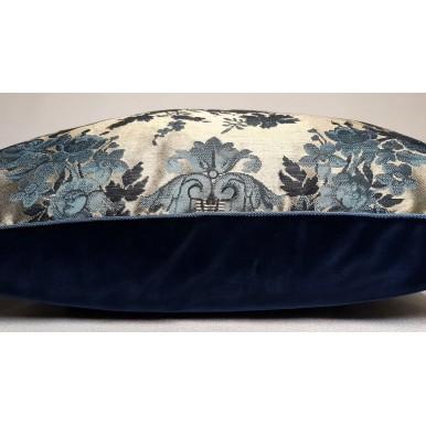 "22"" x 22"" Decorative Pillow Case Antique Turquoise Silk Brocatelle Luigi Bevilacqua Fabric Grottesche Pattern"