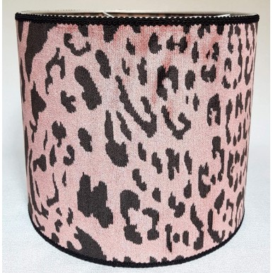 Drum Lamp Shade Pink Velvet Luigi Bevilacqua Fabric Leopardo Pattern