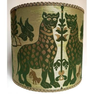 Paralume Cilindro Tessuto Broccatello di Seta Luigi Bevilacqua Fiere Verde Smeraldo