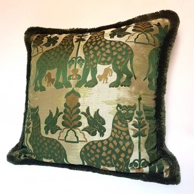 Pillow Case with Brush Fringe Trim Emerald Green Silk Brocatelle Luigi Bevilacqua Fabric Fiere Pattern