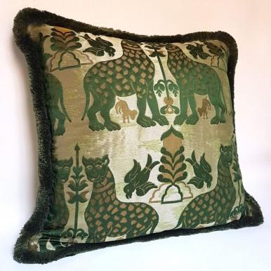 Fodera Cuscino Tessuto Broccatello di Seta Luigi Bevilacqua Fiere Verde Smeraldo