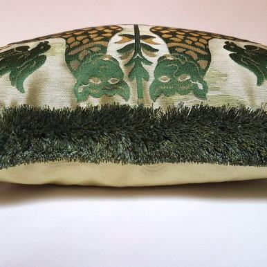 Housse de Coussin Tissu Brocatelle de Soie Luigi Bevilacqua Fiere Vert Emeraude