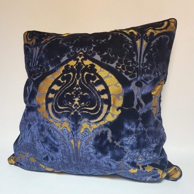 Decorative Pillow Case Luigi Bevilacqua Blue Silk Heddle Velvet Torcello Pattern