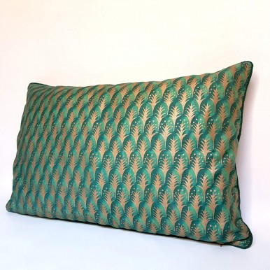Lumbar Throw Pillow Case Fortuny Fabric Emerald & Gold Piumette Pattern