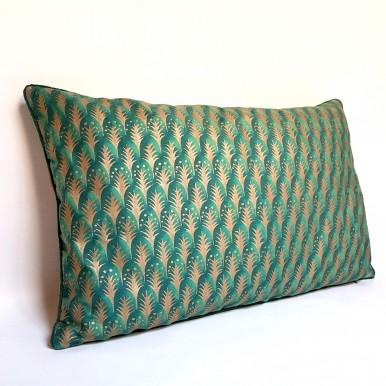 Fodera per Cuscino in Tessuto Fortuny Piumette Verde Smeraldo e Oro