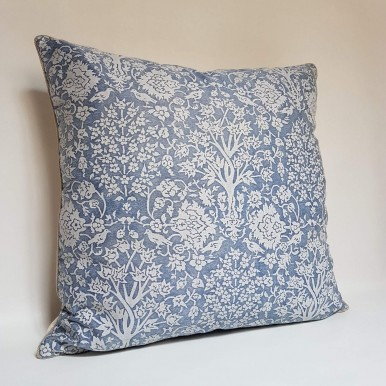 Throw Pillow Case Fortuny Fabric Cornflower Blue & Antique White Alberelli Pattern
