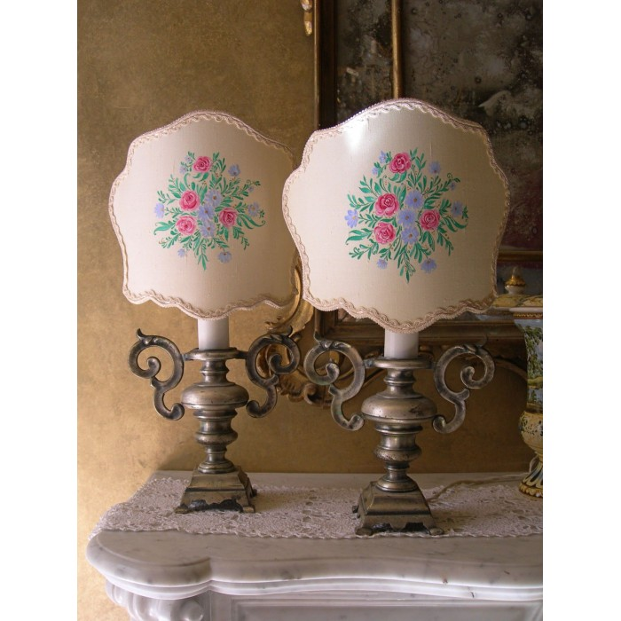 Pair of Italian Antique Solid Silver Metal Portapalme Table Lamps - Hand-Painted Lampshades