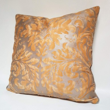 Throw Pillow Case Fortuny Fabric Yellow & Silvery Gold Lucrezia Pattern