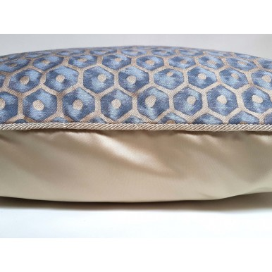 Throw Pillow Case Fortuny Fabric Faded Blue & Gold Favo Pattern