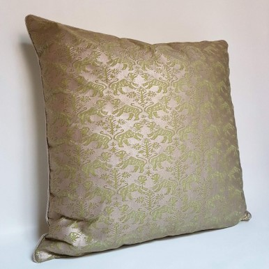 Throw Pillow Case Fortuny Fabric Bayou Green & Gold Richelieu Pattern