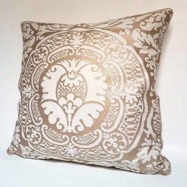 Throw Pillow Cover Fortuny Fabric Champagne & Silvery Gold Orsini Pattern