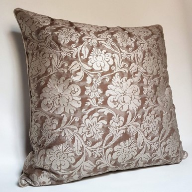 Decorative Pillow Case Fortuny Fabric Grey, Brown & Silvery Gold Cimarosa Pattern
