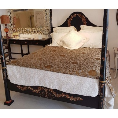 Luxury Custom-Sized Bedspread for Four Poster Bronze & Silver Silk Jacquard Rubelli Fabric Les Indes Galantes Pattern