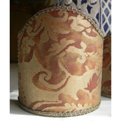 Wall Sconce Clip-On Shield Shade Fortuny Fabric Rust & Gold Sevigne Pattern Mini Lampshade