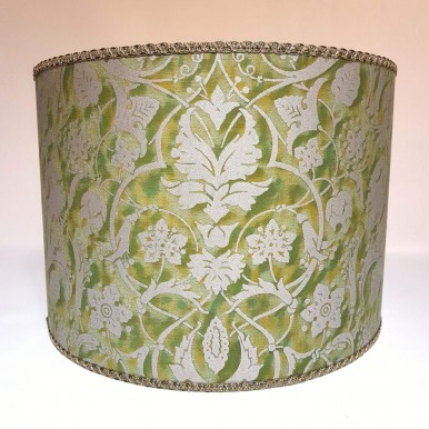 Drum Lamp Shade in Fortuny Fabric Persepolis Green and Gold Round Lampshade