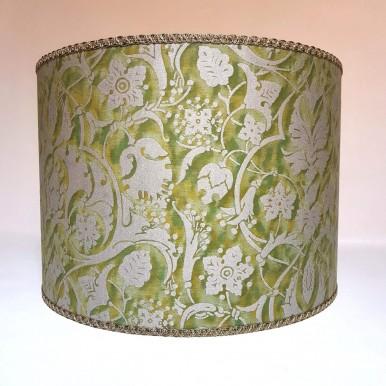 Abat Jour Cylindre Fait Main en Tissu Fortuny Persepolis Vert et Or