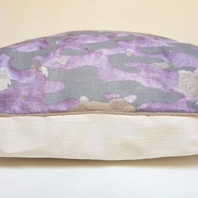 Decorative Pillow Case Fortuny Fabric Camo Isole Pattern Grey, Lavender & Gold