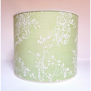 Drum Lamp Shade in Fortuny Fabric Venezianina Sulphur Green & Antique White