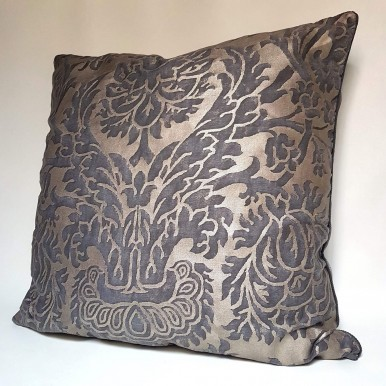 Decorative Pillow Case Fortuny Fabric Grey, Black & Silvery Gold Barberini Pattern