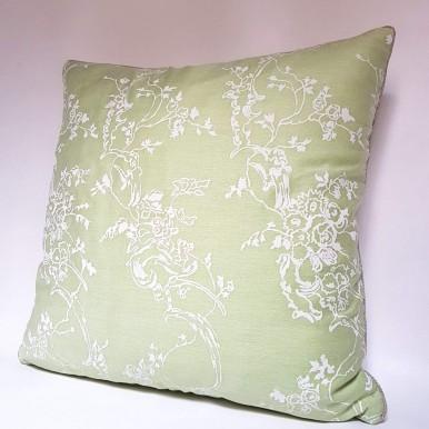 Throw Pillow Case Fortuny Fabric Sulphur Green & Antique White Venezianina Pattern