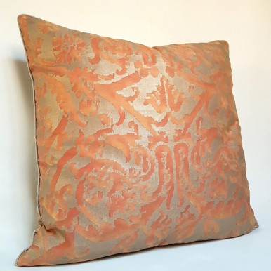 Fortuny Fabric Throw Pillow Case Persimmon & Gold Farnese Pattern