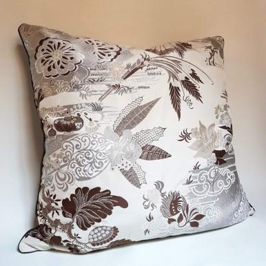 Throw Pillow Case Silk Brocade Rubelli Fabric Silver Pantalon Pattern