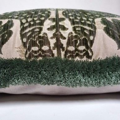 Luigi Bevilacqua Silk Heddle Velvet Olive Green Pillow Case with Brush Fringe Fiere Pattern