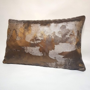 Throw Pillow Cushion Cover Rubelli Jacquard Fabric Bronze & Silver Sumi Pattern