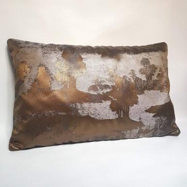 Housse de Coussin Fait Main en Tissu Jacquard Rubelli Sumi Bronze et Argent