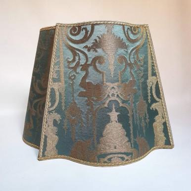 Fancy Square Lamp Shade Aqua Blue and Gold Silk Brocade Rubelli Fabric Aida Pattern