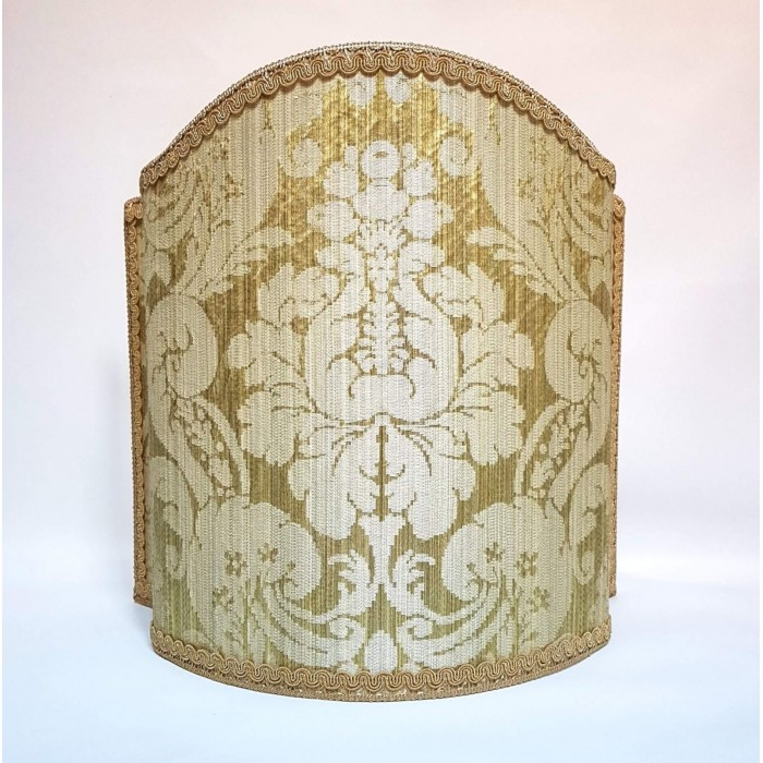 Venetian Lamp Shade in Rubelli Silk Damask Fabric Olive Green Ruzante Pattern Half Lampshade
