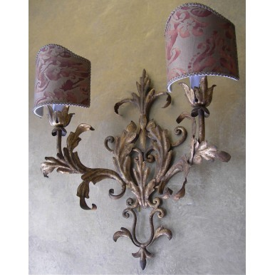 Pair of Italian Antique Gilded Tole Wall Sconces with Fortuny Fabric Shield Shades