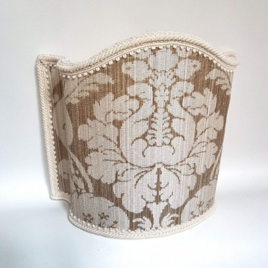 Venetian Lampshade in Rubelli Silk Damask Fabric Mother of Pearl Ruzante Pattern Half Lamp Shade