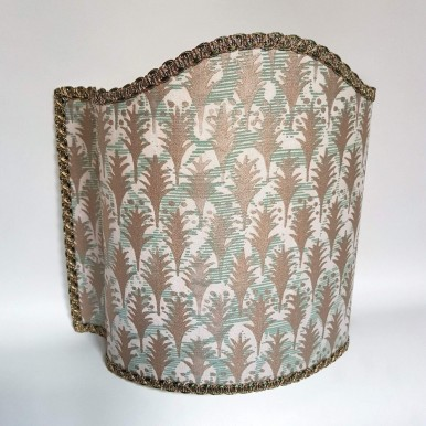 Venetian Lamp Shade Fortuny Fabric Piumette Pink, Aquamarine & Gold Half Lampshade