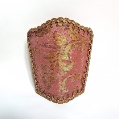 Wall Sconce Venetian Clip On Shield Shade in Pink and Gold Silk Jacquard Rubelli Les Indes Galantes Pattern