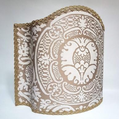 Venetian Lampshade Fortuny Fabric Ivory & Gold Orsini Pattern