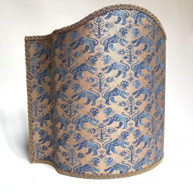 Half Lampshade Fortuny Fabric Indigo Blue & Gold Richelieu Pattern
