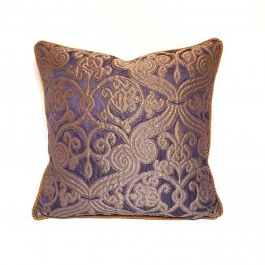 Housse de Coussin Fait Main en Tissu Jacquard de Soie Rubelli Trebisonda Violet et Bronze