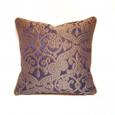 Throw Pillow Case Silk Jacquard Rubelli Fabric Purple & Bronze Trebisonda Pattern