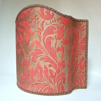 Venetian Lampshade Fortuny Fabric Bittersweet & Silvery Gold Lucrezia Pattern