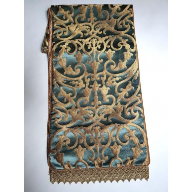 Luxury Table Runner Blue & Gold Silk Jacquard Rubelli Fabric Serlio Pattern with Gold Lace Trim