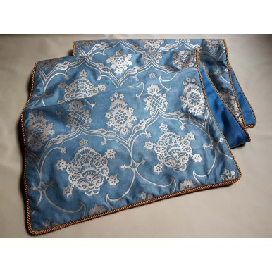 Luxury Table Runner Fortuny Fabric Blue & Silvery Gold Veronese Pattern
