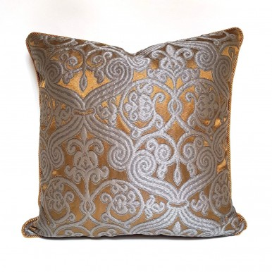 Throw Pillow Case Silk Jacquard Rubelli Fabric Dark Bronze & Silver Trebisonda Pattern