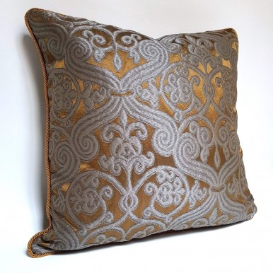Throw Pillow Case Silk Jacquard Rubelli Fabric Dark Bronze & Silver Trebisonda Pattern