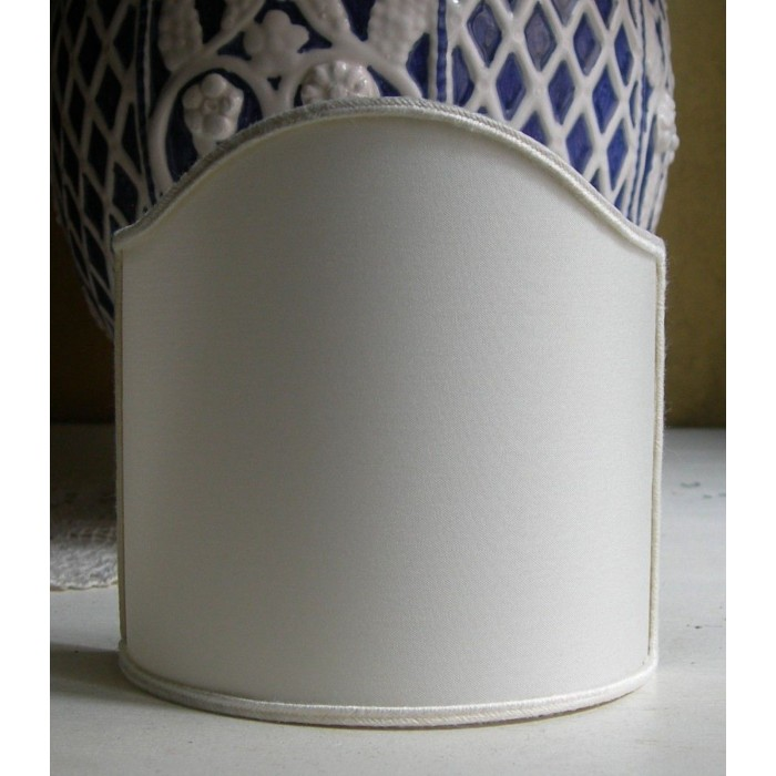Wall Sconce Clip On Shield Shade Ivory Pongé Fabric Half Lampshade