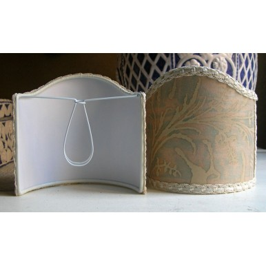 Wall Sconce Clip-On Lamp Shade Fortuny Fabric Driftwood Lucrezia Pattern